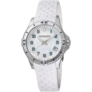 Wenger Women's Squadron Mother-Of-Pearl Dial White Rubber Watch - 0121.104