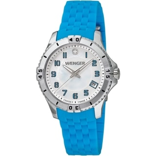Wenger Women's Squadron Mother-Of-Pearl Dial Blue Rubber Watch - 0121.102