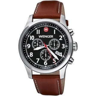 Wenger Men's TerraGraph Chrono Black Dial Brown Leather Watch - 0543.102