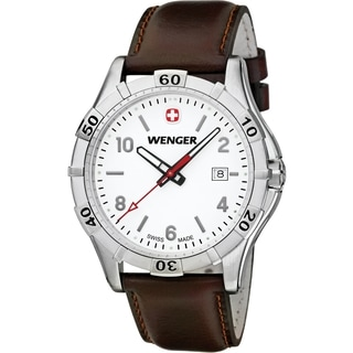 Wenger Men's Platoon White Dial Brown Leather Watch - 0941.101