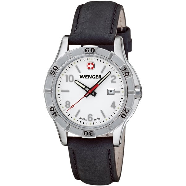 Wenger Women's Platoon White Dial Black Leather Watch - 0921.102