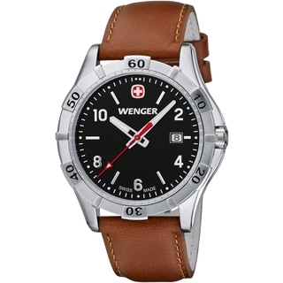 Wenger Men's Platoon Black Dial Brown Leather Watch - 0941.103