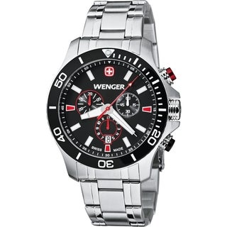 Wenger Men's Sea Force Chrono Black Dial Red Accent Diver Watch - 0643.101