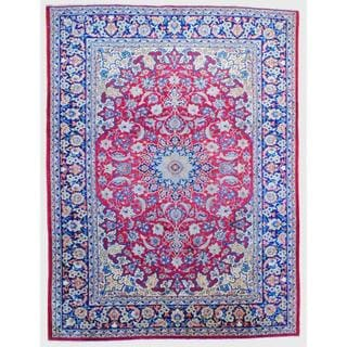Herat Oriental Antique 1960s Persian Hand-knotted Isfahan Red/ Navy Wool Rug (9'7 x 12'9)