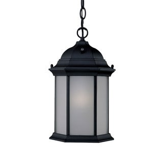 Craftsman Energy Star Collection Hanging Lantern 1-light Outdoor Matte Black Light Fixture with Line Switch