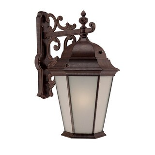 Richmond Energy Star Collection Wall-mount 1-light Outdoor Burled Walnut Light Fixture with Frosted Shade