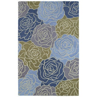 Hand-tufted 'Retreat' Blue Bouquet Wool Rug (3'0 x 5'0)