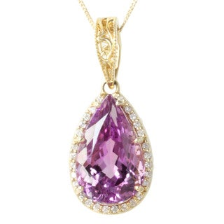 Michael Valitutti 14k Yellow Gold Martha Rocha Kunzite and Diamond Necklace (I-J, I1-I2)