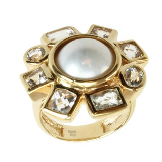 Michael Valitutti Gold over Silver Mabe Pearl and White Topaz Ring