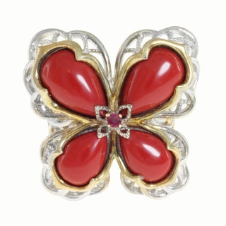 Michael Valitutti Two-tone Coral and Ruby Ring