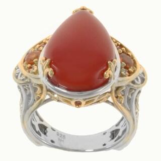 Michael Valitutti Two-tone Carnelian, Spessartite and Orange Sapphire Ring
