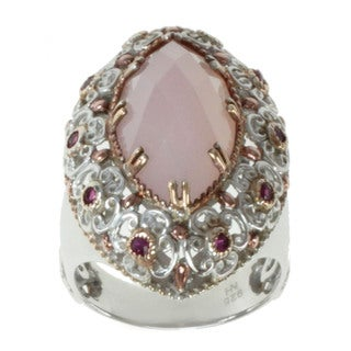 Michael Valitutti Two-tone Rose Agate and Ruby Ring