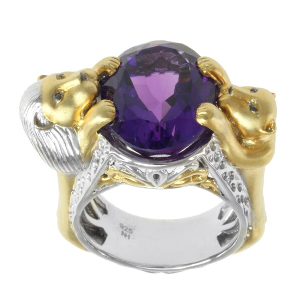 Michael Valitutti Two-tone Amethyst 'Lion' Ring