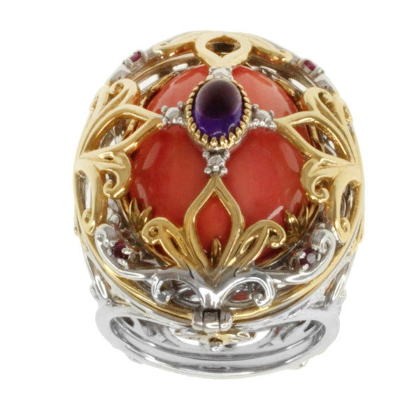 Michael Valitutti Two-tone Salmon Coral, Amethyst and Ruby Transformable Ring Set