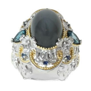Michael Valitutti Two-tone Grey Moonstone, London Blue Topaz and Blue Sapphire Ring