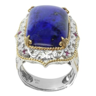 Michael Valitutti Two-tone Lapis and Ruby Ring