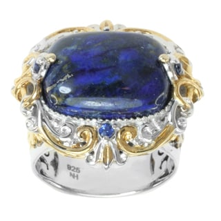 Michael Valitutti Two-tone Lapis and Round-cut Blue Sapphire Ring