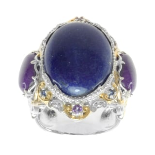 Michael Valitutti Two-tone Lapis, Purple Jade, Amethyst and Blue Sapphire Ring