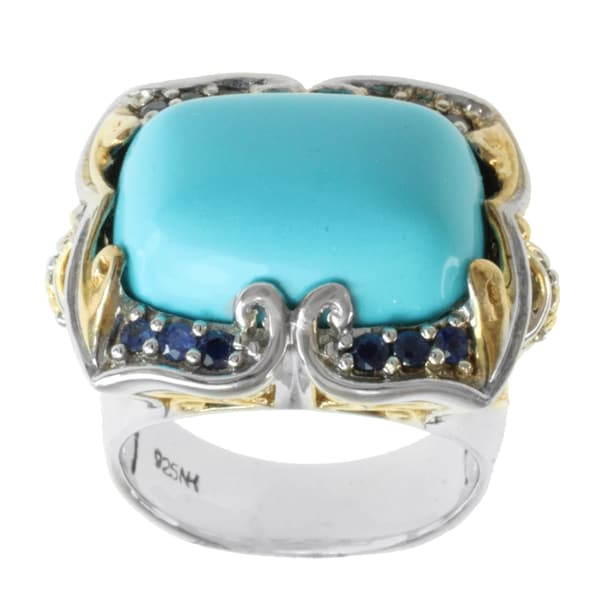 Michael Valitutti Two-tone Palladium-silver Turquoise-and-blue Sapphire Ring