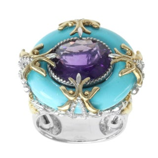 Michael Valitutti Two-tone Amethyst, Turquoise and Blue Sapphire Ring