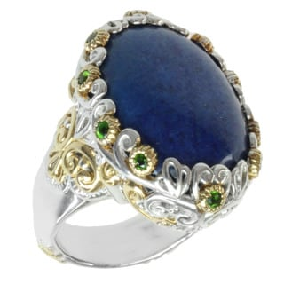 Michael Valitutti Two-tone Lapis and Chrome Diopside Ring