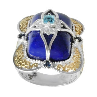 Michael Valitutti Two-tone Lapis, Blue Topaz and Blue Sapphire Ring