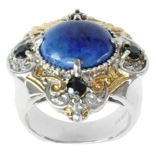 Michael Valitutti Two-tone Lapis, Black Spinel and White Sapphire Ring