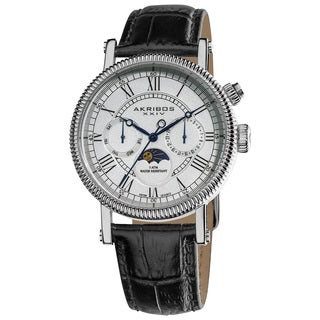 Akribos XXIV Men's Swiss Quartz Silvertone Multifunction Genuine Leather Strap Watch