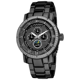Akribos XXIV Men's Pave Dial Multifunction Black Stainless Steel Bracelet Watch