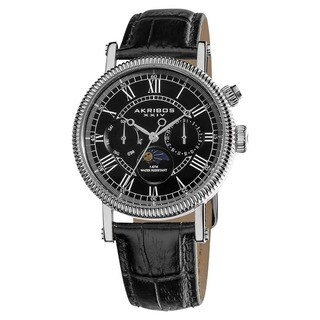 Akribos XXIV Men's Swiss Quartz Multifunction Leather Black Strap Watch