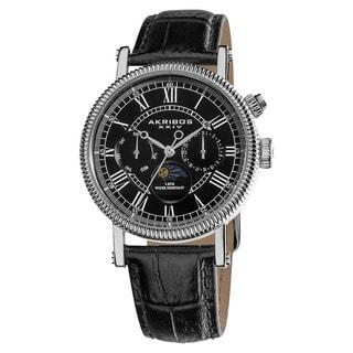Akribos XXIV Men's Swiss Quartz Multifunction Leather Black Strap Watch