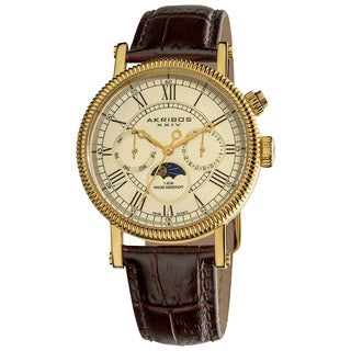 Akribos XXIV Men's Swiss Quartz Goldtone Multifunction Genuine Leather Strap Watch