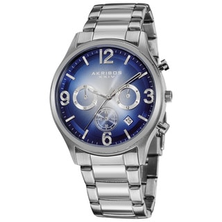 Akribos XXIV Men's Chronograph Blue Dial Stainless Steel Bracelet Watch