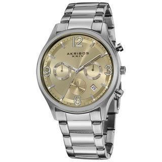 Akribos XXIV Men's Water-resistant Chronograph Gradient-dial Stainless Steel Bracelet Watch