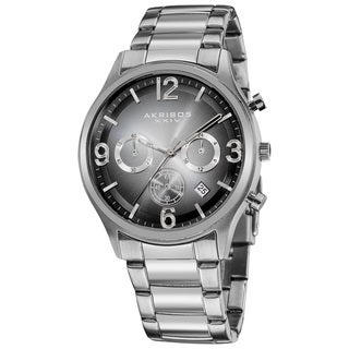 Akribos XXIV Men's Quartz Chronograph Gradient-dial Black Bracelet Watch