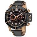 Akribos XXIV Men's Black Decorative Screws Leather Strap Watch