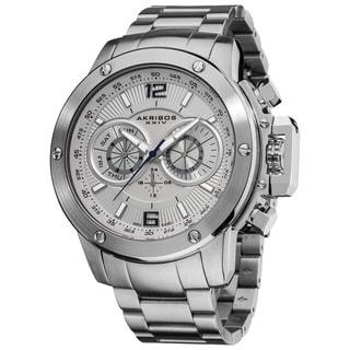 Akribos XXIV Men's Swiss Quartz Multifunction Stainless Steel White Bracelet Watch