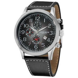 Akribos XXIV Men's Arabic Numeral Gradient Dial Leather Silver-Tone Strap Watch with Date Display