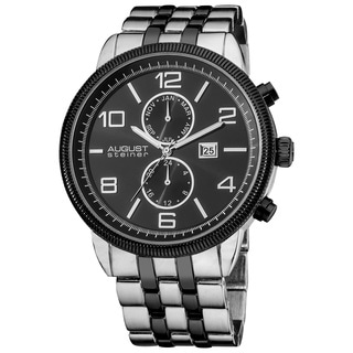 August Steiner Men's Swiss Quartz Coin-edge Bezel Bracelet Watch - Silver/Black