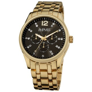 August Steiner Men's Crystal Markers Sunray Black Dial Bracelet Watch