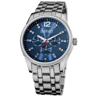 August Steiner Men's Crystal Markers Sunray Dial Bracelet Watch