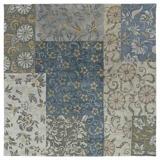 Euphoria Patchwork Blue Tufted Wool Rug (8'0 x 8'0)