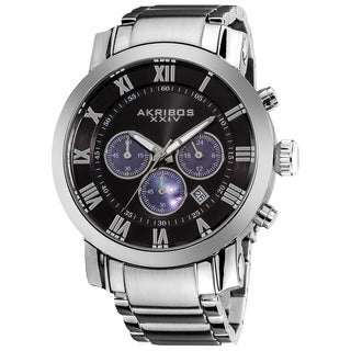 Akribos XXIV Men's Chronograph Black Dial Stainless Steel Bracelet Watch