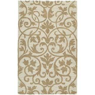 Zoe Scroll Oatmeal Hand Tufted Wool Rug (5'0 x 7'9)