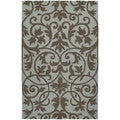 Zoe Scroll Blue Hand Tufted Wool Rug (8'0 x 10'0)