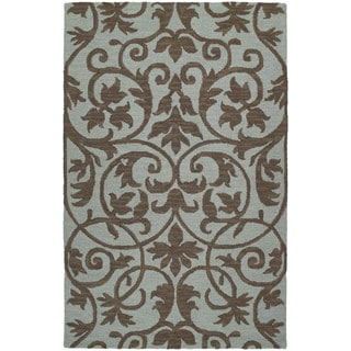Zoe Scroll Blue Hand Tufted Wool Rug (9'0 x 12'0)
