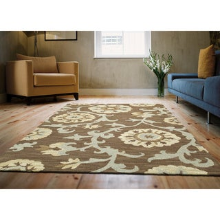 Zoe Light Brown Suzani Hand Tufted Wool Rug (3'0 x 5'0)