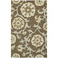 Zoe Light Brown Suzani Hand Tufted Wool Rug (5'0 x 7'9)