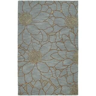 Zoe Blue Flower Hand Tufted Wool Rug (2'0 x 3'0)