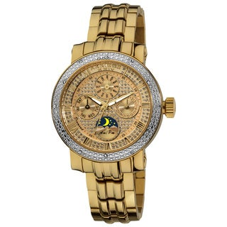 Akribos XXIV Ladies' Diamond Goldtone Multifunction Stainless Steel Bracelet Watch